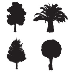 vector set with four silhouette trees - white background