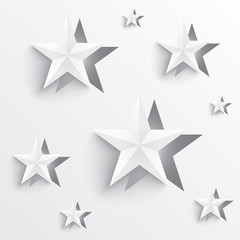 Paper cutout of star shape origami design with shadows and minimal white colors. Vector illustration of a festive geometric ornament design with stars.