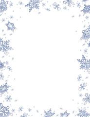 Christmas frame with frosty snowflakes