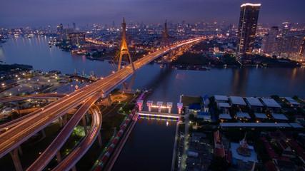 beautiful aerial view of bhumibol bridge in bangkok thailand