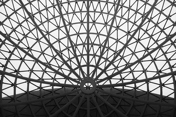 Fototapeta The glass dome of the building. The design of the roof is round. Black and white version.