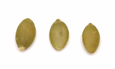 Shelled Pumpkin Seeds on a White Background