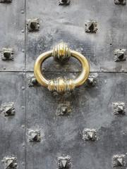 Baroque Era Brass Door Knocker on Iron Door in Genoa, Italy