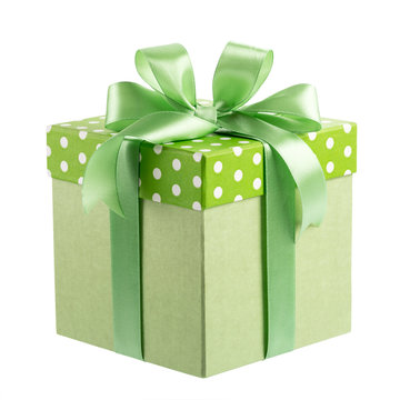 Green gift box with bow isolated on white