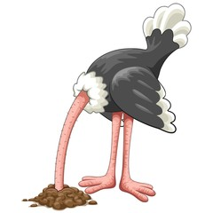 Ostrich Head in Sand Proverb Cartoon Character