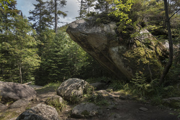"The ""Slant Rock"" Boulder In the Adirondack Mountains"
