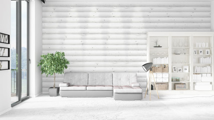 Modern interior in vogue with white couch and copyspace in horizontal arrangement. 3D rendering.