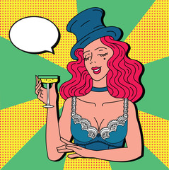 Toast girl party yellow retro background pop art retro vector. Celebration and party. Alcohol drink.Vintage cabaret woman with champagne in hat and lingerie. Cheers toast celebration woman