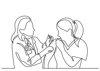 continuous line drawing of doctor making vaccination shot to woman