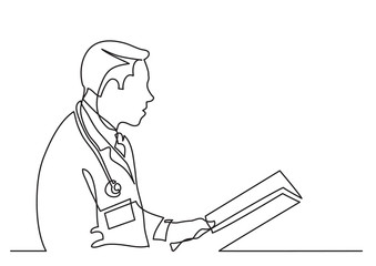 continuous line drawing of doctor reading papers