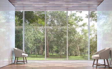 Empty room modern space with nature view 3d rendering image.The room has wooden floor,There are large window overlooking to the nature