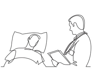 continuous line drawing of doctor talking with patient lying in bed