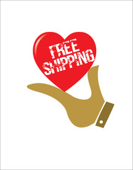 Illustration of a hand offering free shipping card