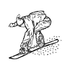 Active man snowboarder riding on slope vector illustration sketch hand drawn with black lines, isolated on white background. Winter sport background.