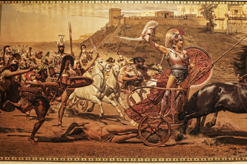 Fresco of the battle for Troy on the Greek island of Corfu in the Ionian Islands