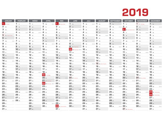 Jahresplaner DIN A1 für 2019  mit KW und Feiertagen