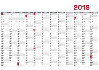 Jahresplaner DIN A1 für 2018  mit KW und Feiertagen