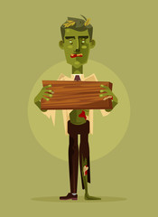 Zombie man character holding wooden sign. Halloween concept. Vector flat cartoon illustration