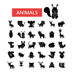 Cute animals illustration, thin line icons, linear flat signs, outline pictograms, vector symbols set, editable strokes