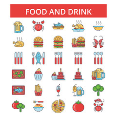Food drinks illustration, thin line icons, linear flat signs, outline pictograms, vector symbols set, editable strokes