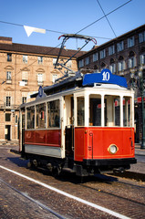 Historical tramway line number ten (from Crocetta to Regio Parco street) stops in Piazza Castello, main square of Turin (Italy)