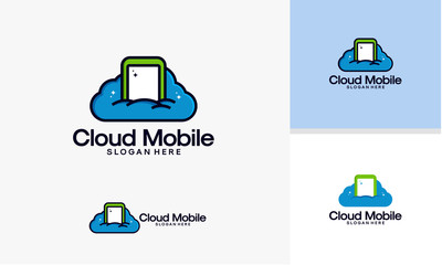 Cloud Mobile logo template, Online Mobile logo designs vector