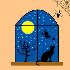 Holiday halloween window