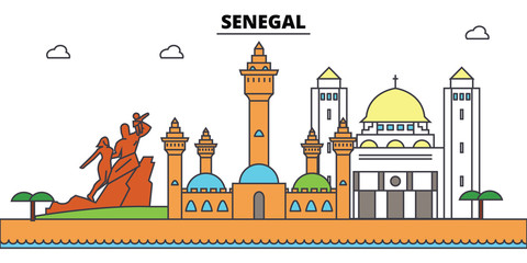 Senegal outline city skyline, linear illustration, line banner, travel landmark, buildings silhouette,vector
