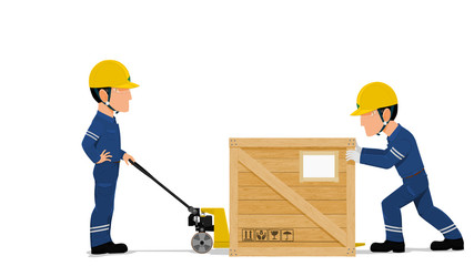 Two workers are loading a wooden container on transparent background