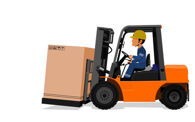 A Worker is delivering the big paper container by the Forklift truck on transparent background