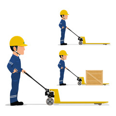 A worker with the  the pallet truck on transparent background