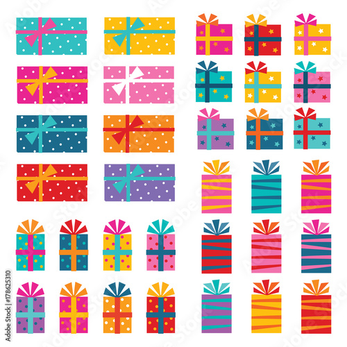 Vector Collection Of Brightly Colored Birthday And Holiday Gift