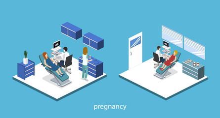 Isometric 3D vector illustration pregnant woman at a doctor's appointment