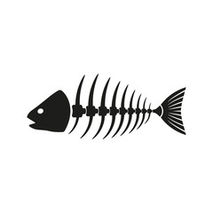 Fish. Skeleton. Vector.