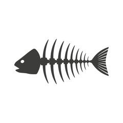 Fish. Skeleton. Vector.