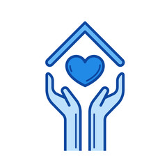 Human hands and heart under the house roof line icon isolated on white background. Hands and heart under the house roof line icon for infographic, website or app. Blue icon designed on a grid system.