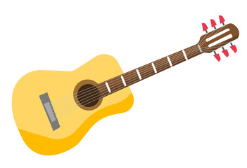 Classical acoustic guitar vector cartoon illustration isolated on white background.