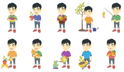 Little asian boy set. Boy holding the basket with strawberry, blueberry, fruit, vegetables, watering plant, planting a tree. Set of vector sketch cartoon illustrations isolated on white background.