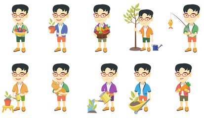 Little asian boy set. Boy holding flower in a pot, pet cat, carrot, fishing rod with fish, pushing wheelbarrow with sprout. Set of vector sketch cartoon illustrations isolated on white background.