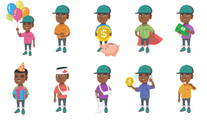 Little african-american boy set. Boy holding balloons, gift box, having stomach ache, wearing superhero costume, brushing his teeth. Set of vector cartoon illustrations isolated on white background.