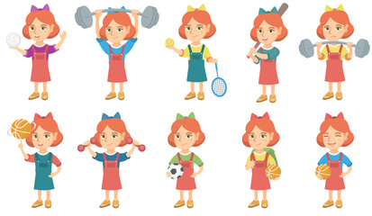 Little caucasian girl set. Girl spinning a basketball ball on his finger, exercising with dumbbells, holding football ball. Set of vector sketch cartoon illustrations isolated on white background.