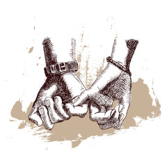 Hand Drawn Sketch. Hands women and men. Friendship day with holding promise hand. Vector illustration.