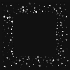 Random falling stars. Square messy frame with random falling stars on black background. Unique Vector illustration.