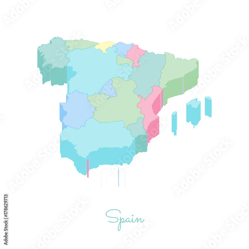 Map Of Spain Detailed.Spain Region Map Colorful Isometric Top View Detailed Map Of Spain