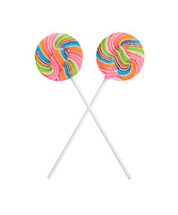 Rainbow lollipop swirl on stick isolated on white background.