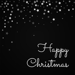 Happy Christmas greeting card. Random falling stars background. Random falling stars on red background. Gorgeous vector illustration.