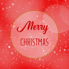 Merry Christmas greeting card on blur red background