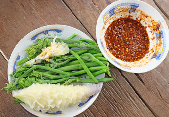 chili sauce and vegetable.