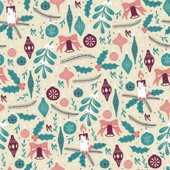 Christmas Seamless Pattern with Christmas Balls and Mistletoe.