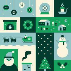christmas green collage Card vector flat design illustration set